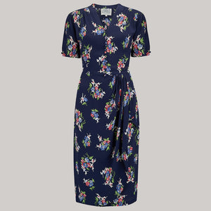 Mabel 1940s Dress in Navy Floral