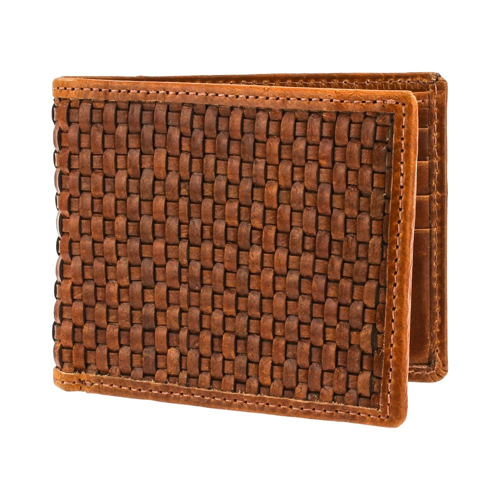 Tan Glossy Lattice Leather Wallet