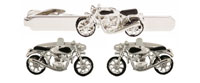 Motor Bike Set rhodium plated - Bowler Vintage