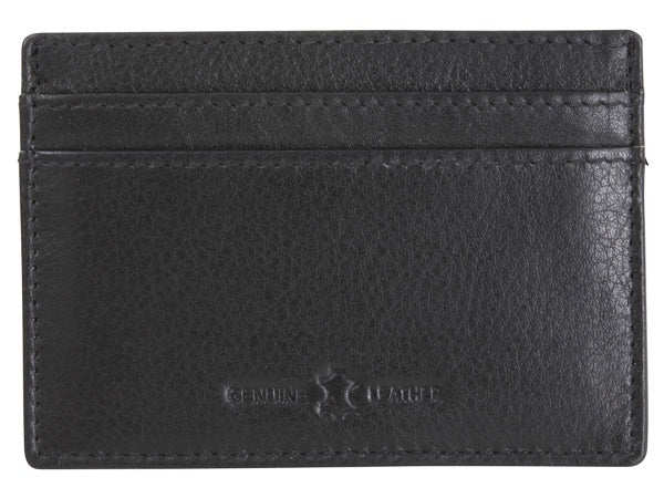 Black Leather RFID Slim Card Holder - Bowler Vintage