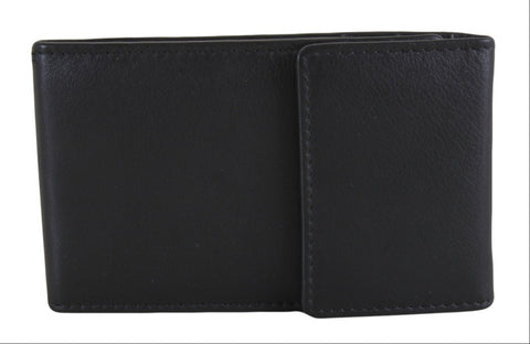 Black Leather Card Case RFID & Plastic Inserts