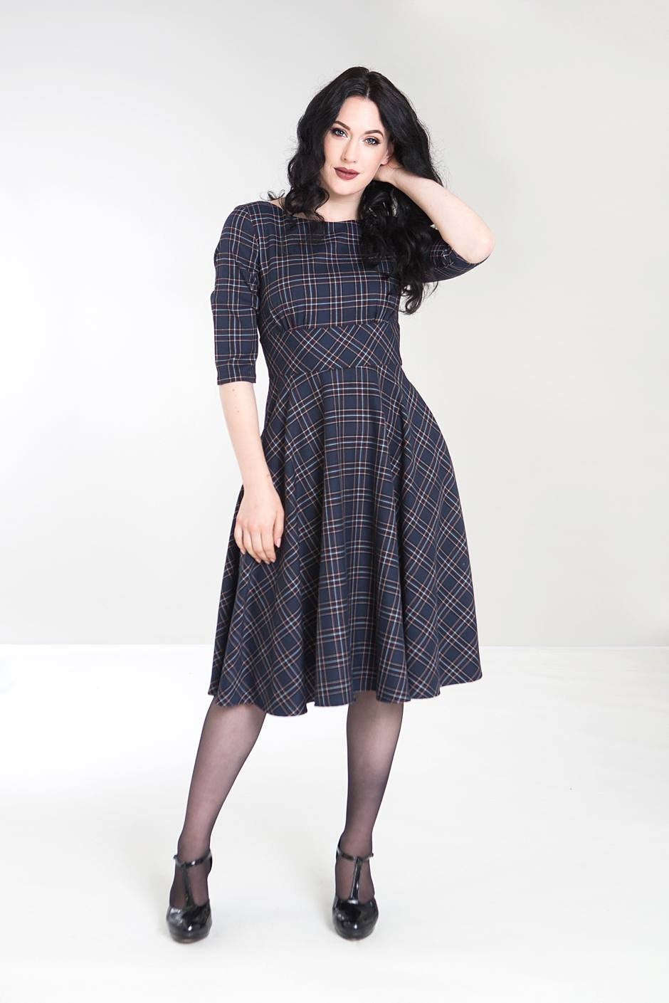 Peebles Tartan Dress - Navy