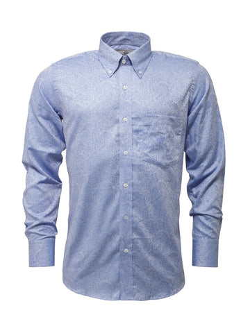 Jacquard Paisley Design Long Sleeve shirt Blue