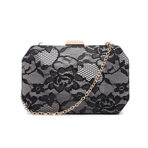 Lace Hexagon Clutch Bag - Grey