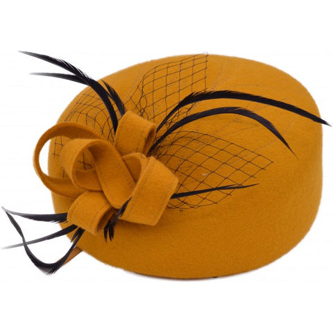 Pillbox Hat with Feather - Bowler Vintage