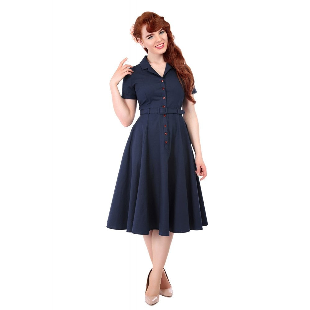 Caterina Swing Dress Navy - Bowler Vintage
