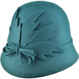 Wool Felt Cloche Hat Leaf Detail