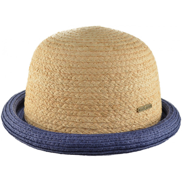 Summer Bowler Staw Hat with coloured rim