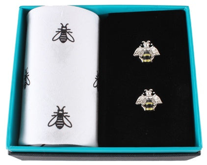 Bee Handkerchief and Cufflink Set