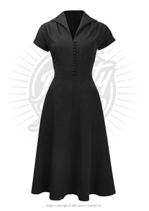 Pretty 40s Hostess Dress - Black