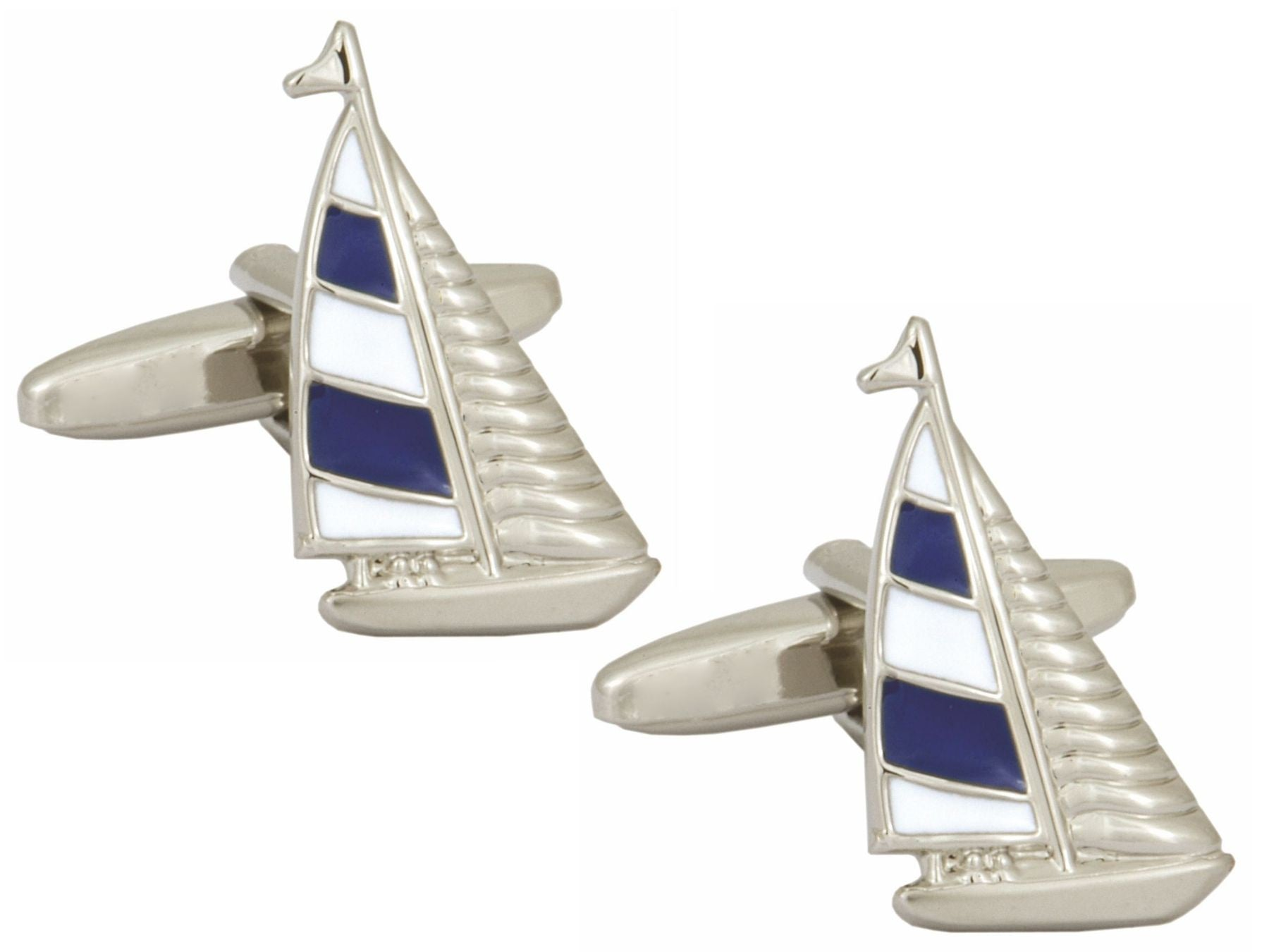 Blue and White Yacht Rhodium Plated Cufflinks