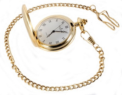 Gold Brushed Quartz Full Hunter Pocket Watch