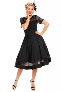 Tess Lace Embroidered Dress - Black - Bowler Vintage