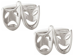 Open Theatrical Masks Rhodium Plate Cufflinks