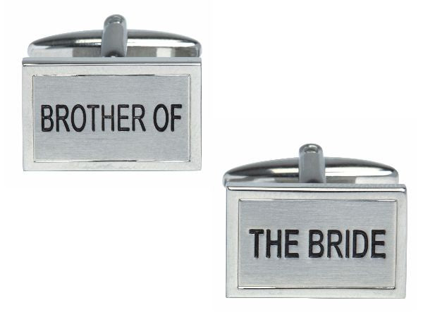 Brother of the Bride Rhodium Plated Cufflinks - Bowler Vintage
