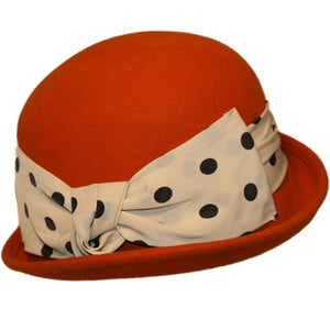 Orange Wool Felt Cloche Hat - Bowler Vintage
