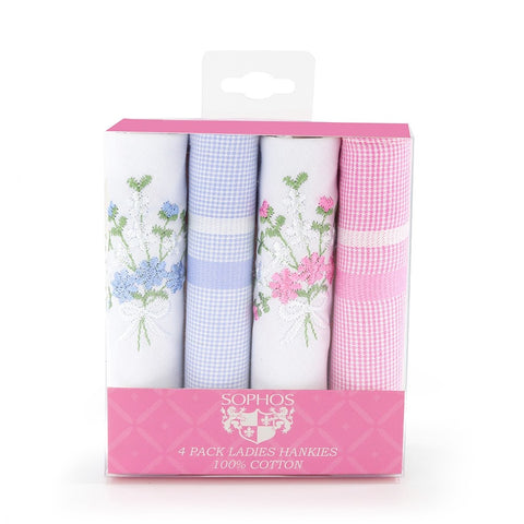Ladies 4Pk Woven Embroidered Handkerchiefs