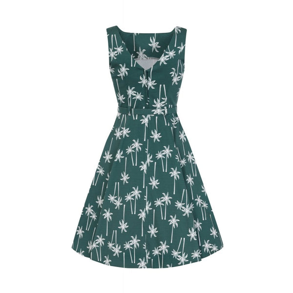Hepburn Vintage Palm Swing Dress - Bowler Vintage