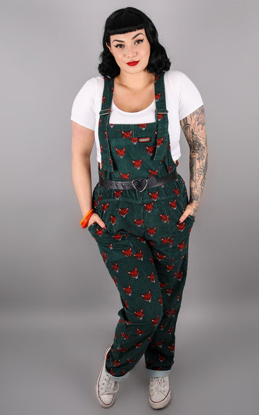Fox Unisex Cord Dungarees - Green