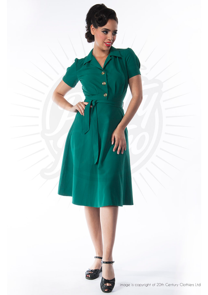 40's Shirt Dress - Green - Bowler Vintage