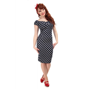 Dolores Polka Dot Pencil Dress - Navy - Bowler Vintage