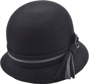 Cloche Hat with Stripe