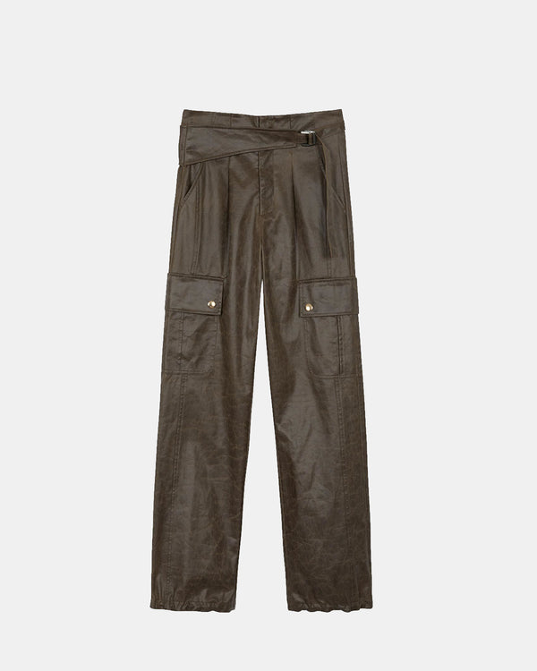Women's Katia Belted Cargo Wide Pants (Khaki Brown)