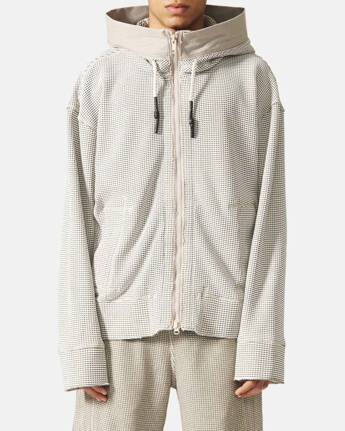 adidas - Day One Waffle Hooded Track Top (Creme | Brown)