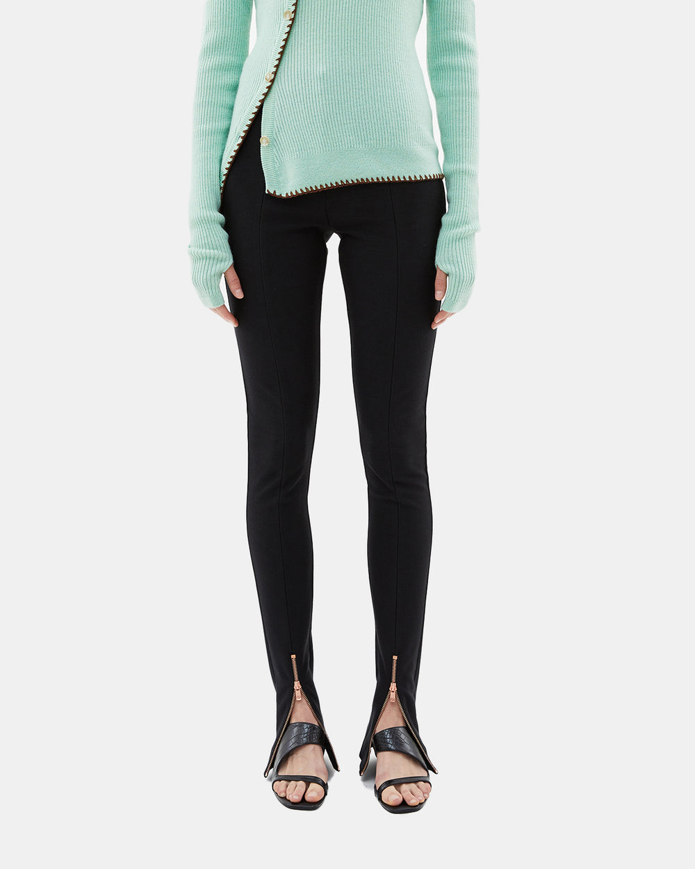 Andersson Bell - Women's Stretch Jersey Zipper Flared Pants (Black)