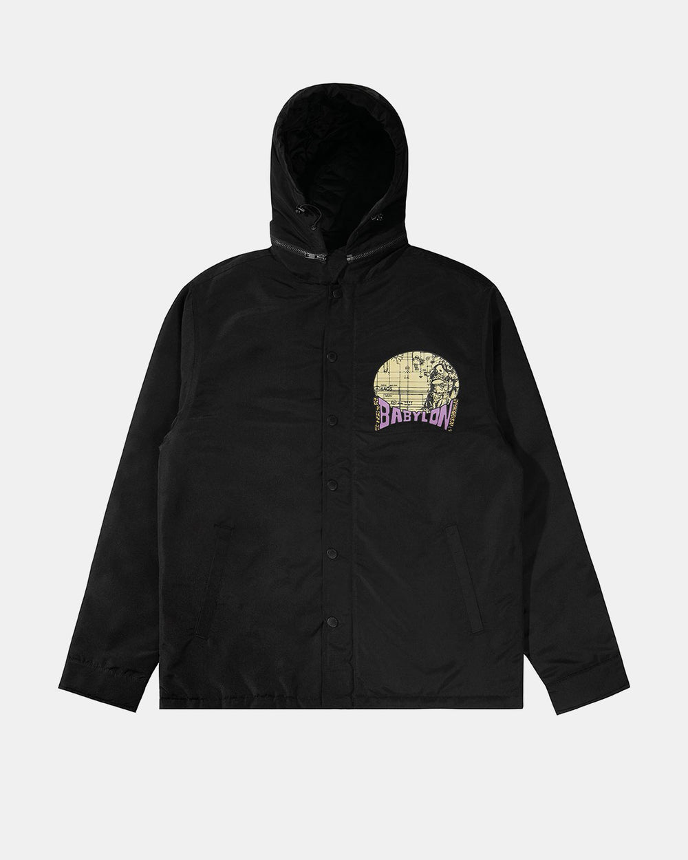 HOODED SHIRT JACKET BLACK