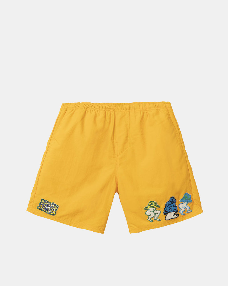 Mushroom Patch Nylon Beach Shorts (Gold)