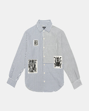 Brain Dead - Paneled Button Up (Navy | White)