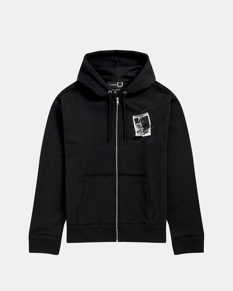 Raf Simons Patched Zip Through Hoodie (Black)