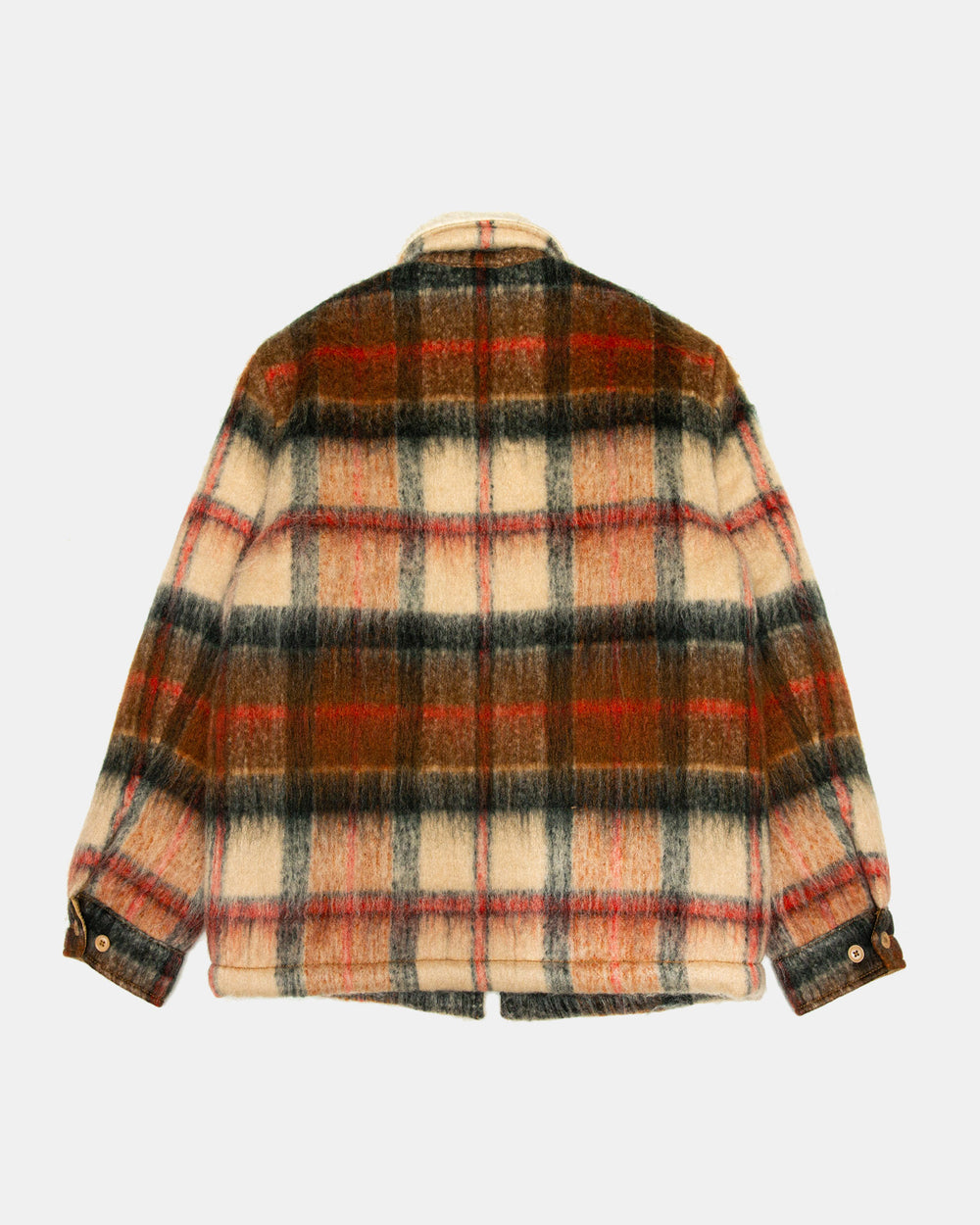 Levi's - Made & Crafted Leather Sherpa Ranch Coat (Brown Plaid)
