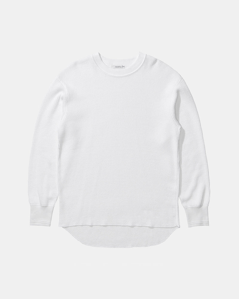 Crew Neck Long Sleeve Thermal Tee (White)
