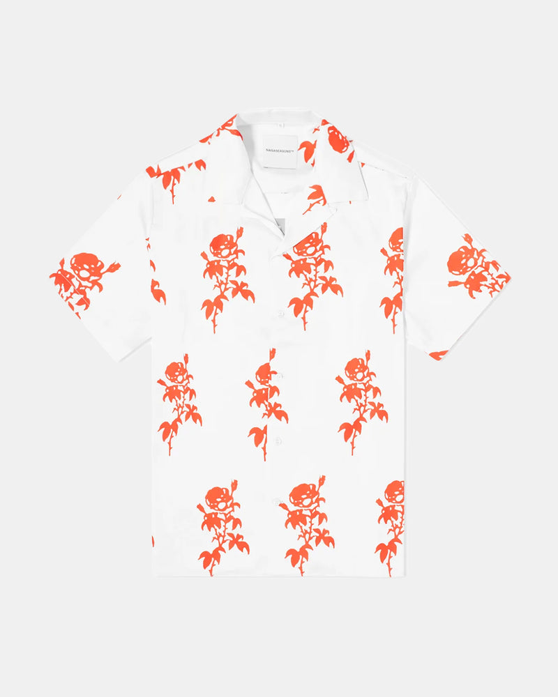 Rose Button Up (White | Red)