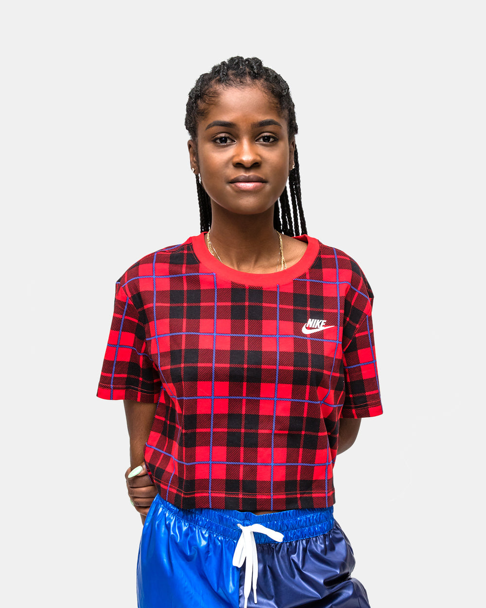 Nike - Women's NSW Cropped Plaid Tee (University Red)