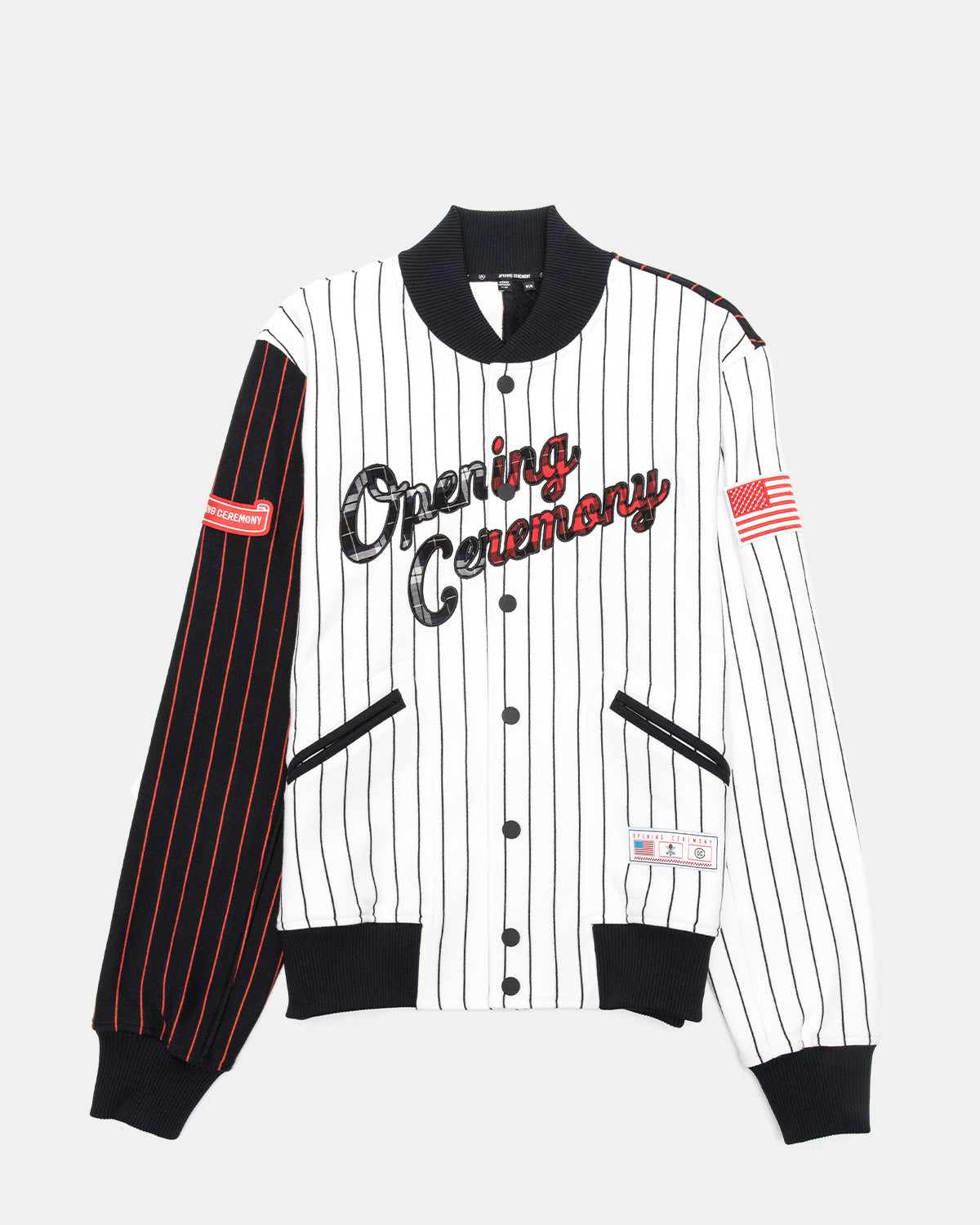 Opening Ceremony - Women's OC Pinstripe Varsity Jacket (Black)