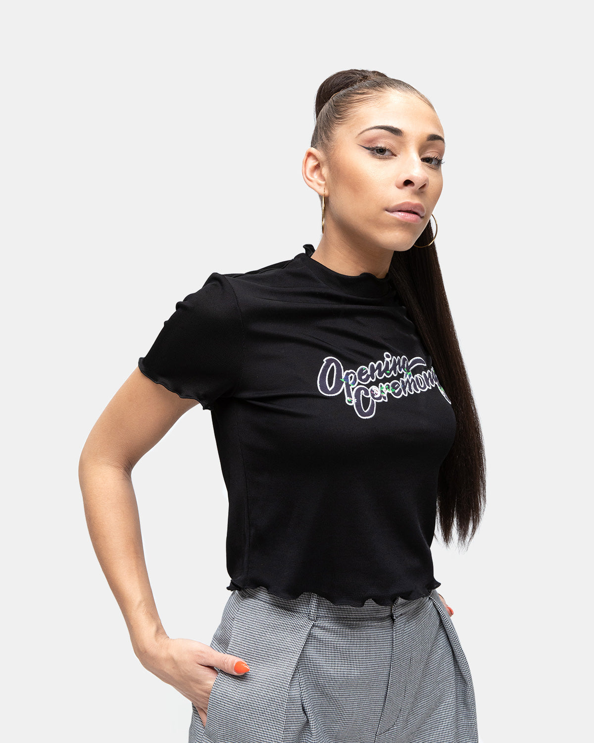 Opening Ceremony - Women's Fem Fit OC Lettuce Edge Tee (Black)