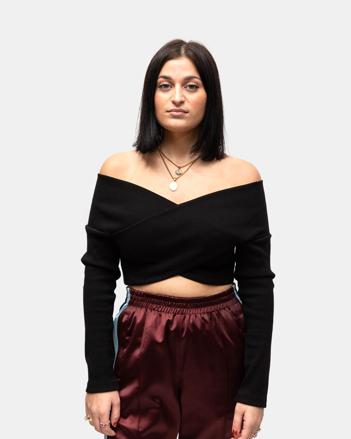 Opening Ceremony - Women's Off The Shoulder Crop Top (Black)
