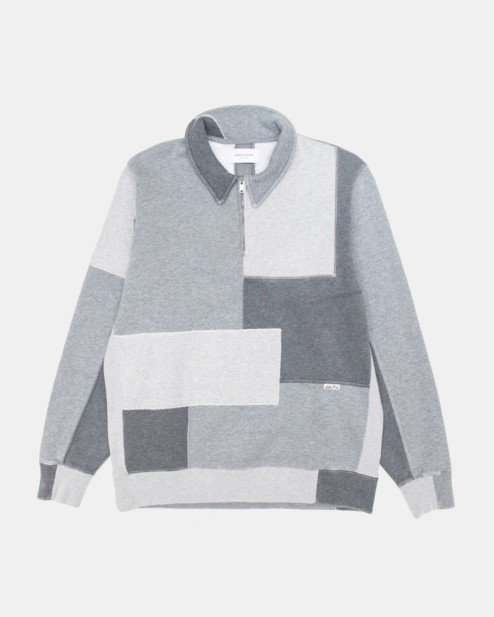 Ovadia & Sons - Distressed Patchwork Half Zip (Heather Charcoal)
