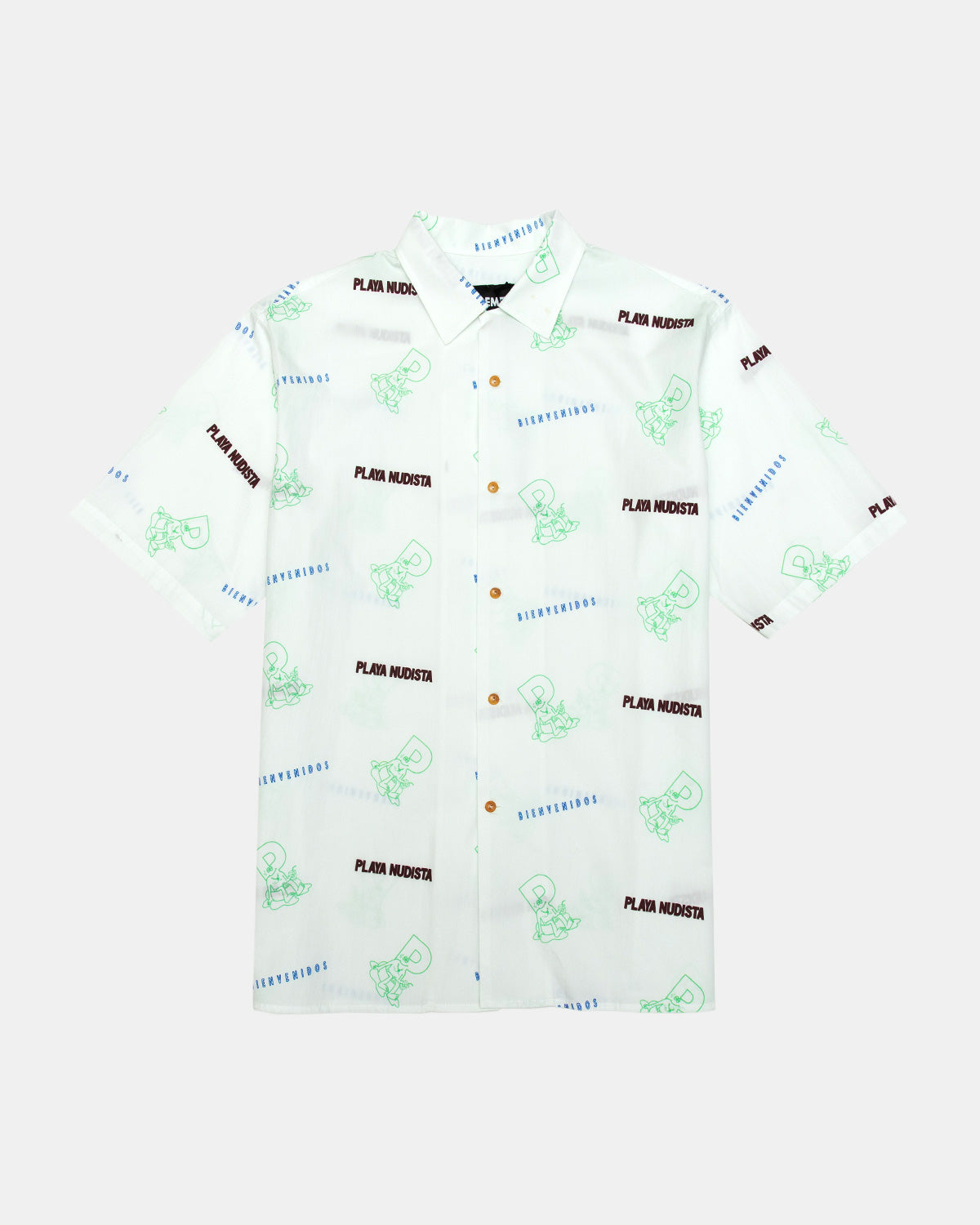 Pas de Mer - Playa Nudista Short Sleeve Button Down Shirt (White)