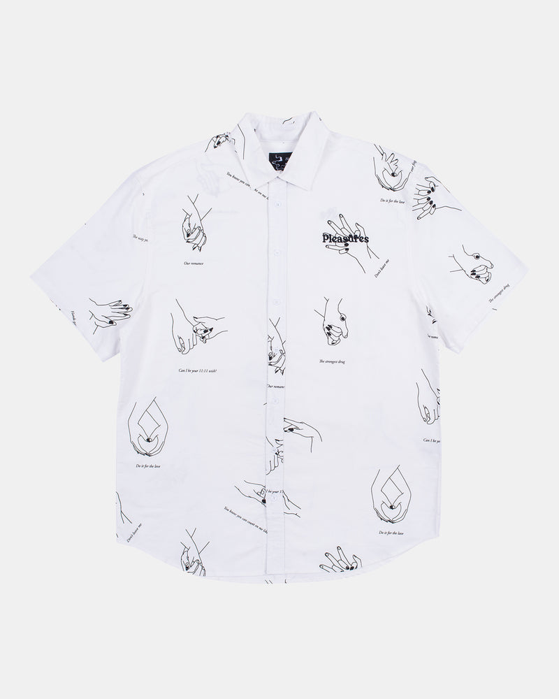 Hands Short Sleeve Buttdown Shirt (White)
