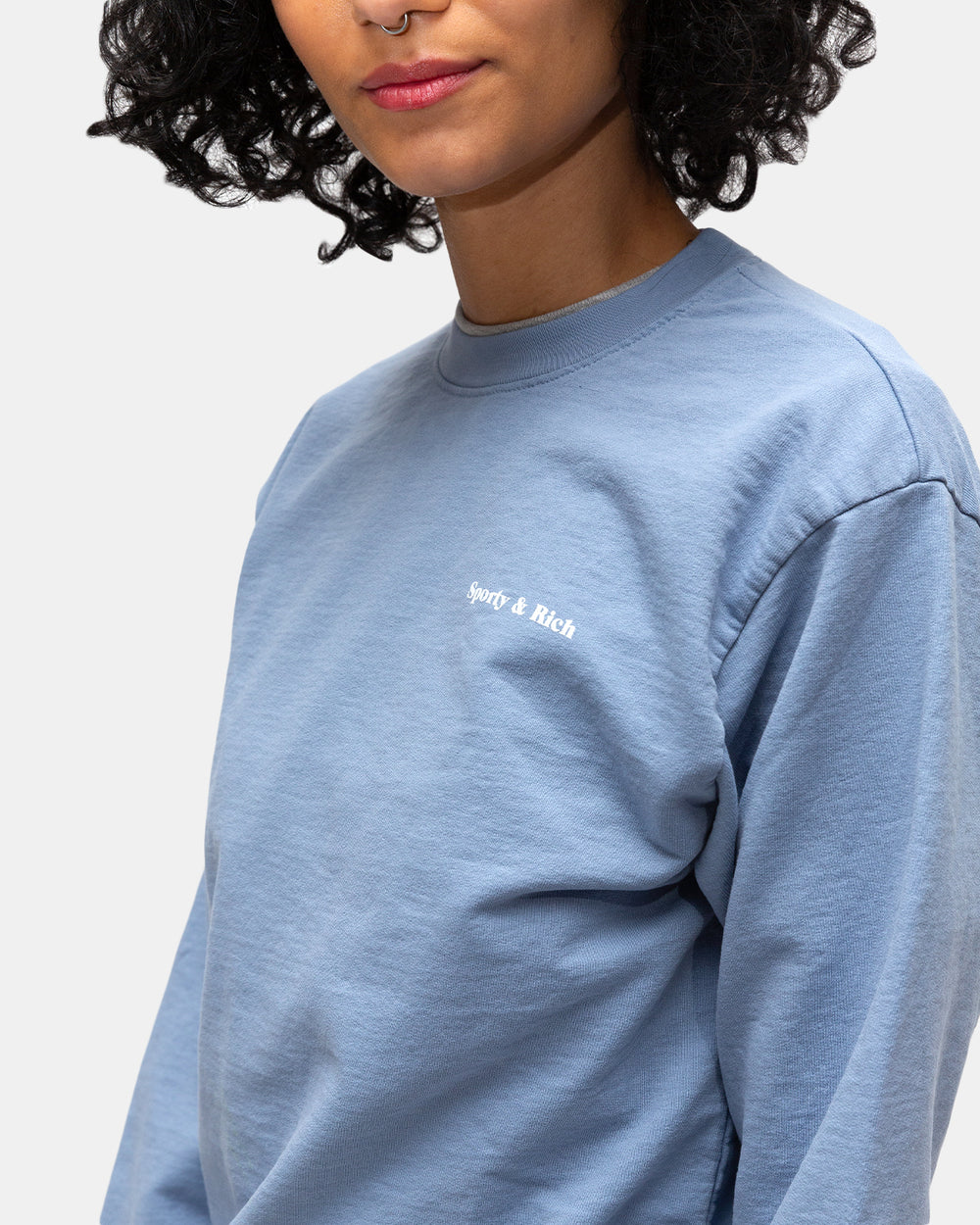 Sporty & Rich - Women's Fun Logo French Terry Sweatshirt (Powder Blue)