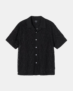 Floral Pattern Lace Shirt (Black)