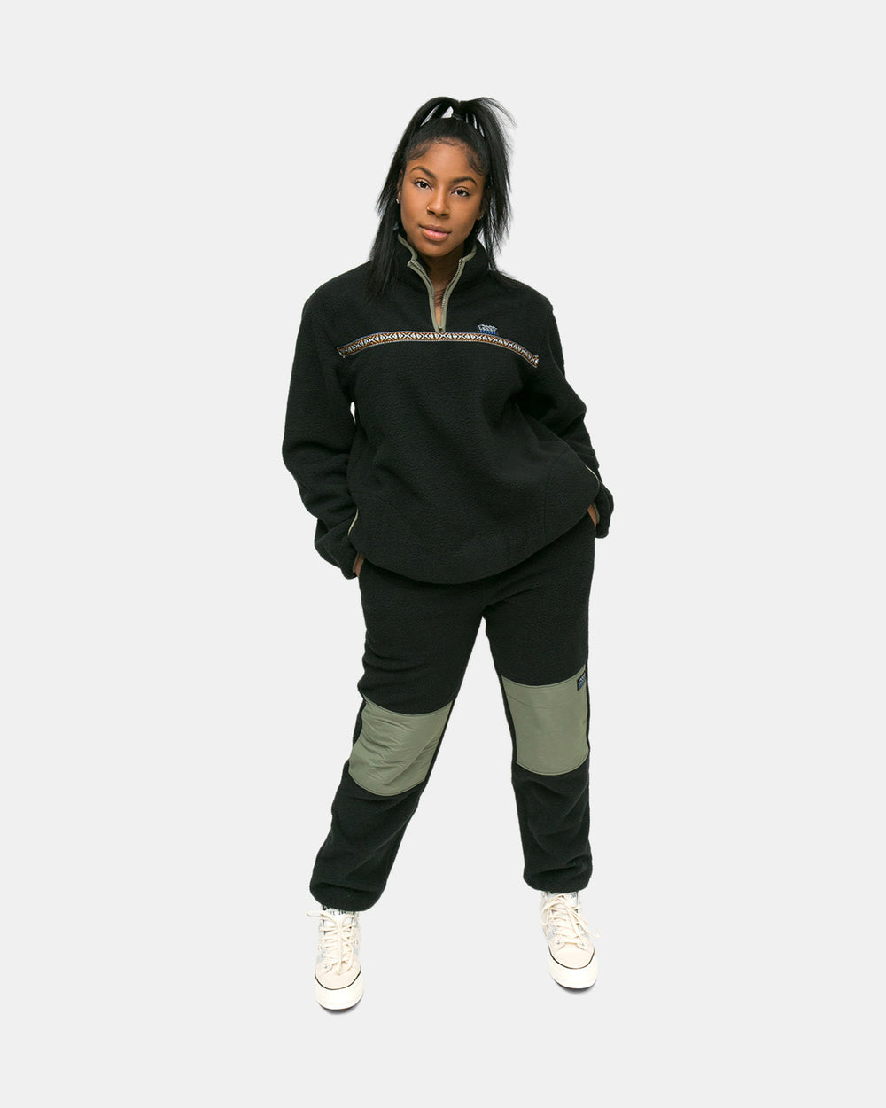Stussy - Women's Summit Half Zip Polar Fleece (Black)
