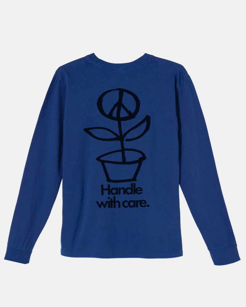 Women's Peace Dot Pig Dyed Long Sleeve Tee (Dark Blue)