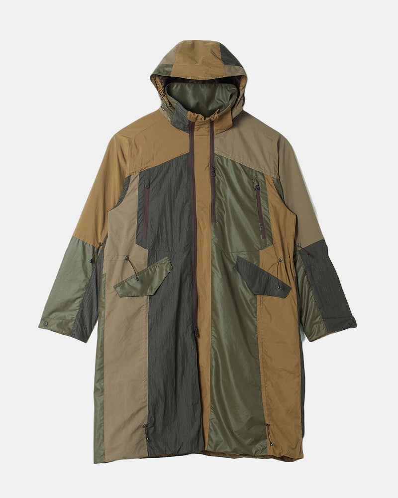 Shirring Hooded Coat (Khaki)
