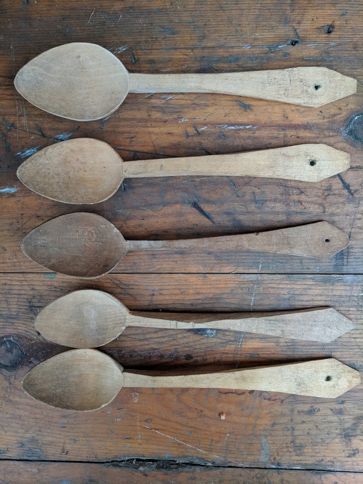 Handcarved vintage wooden spoon