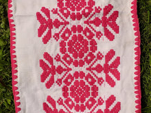 Traditional embroidered linen table runner